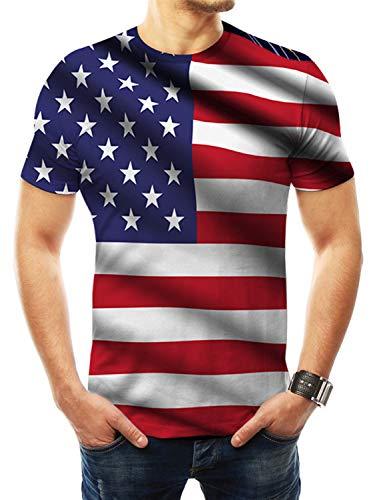 (FRTCV Mens Men's July 4th American Flag Short Sleeve T Shirts XY114T Asian L/US XS)