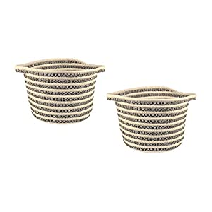 ZP Home Goods Cotton Rope Basket – Set of 2 for Kitchen, Bathroom, Laundry, Nursery, Craft, pet, Kids, Living Room, Closet, mud Room, Gift and Storage (Black)