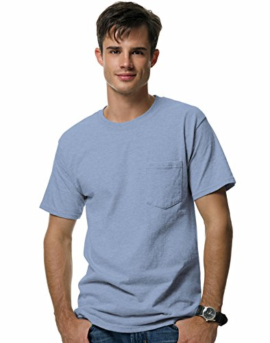 Hanes Beefy-T Adult Pocket T-Shirt,Light Blue,3XL US (Chest 54-56)