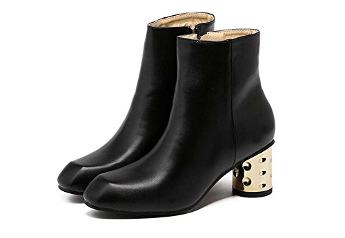 6cm Boots Ol Ankle Color Gold Shoes pu Toe Women Black 34 Boots Martin Heel Pure Sweet Dress Size 40 Eu Zipper Chunkly Round Court Boots YaYqprw