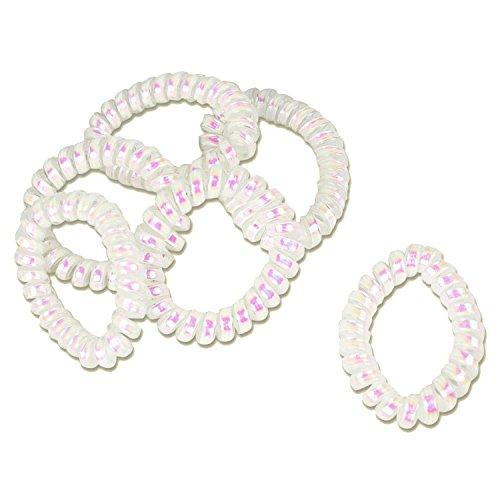 6x Nácar Gomas del pelo elástica (plástico de espiral)