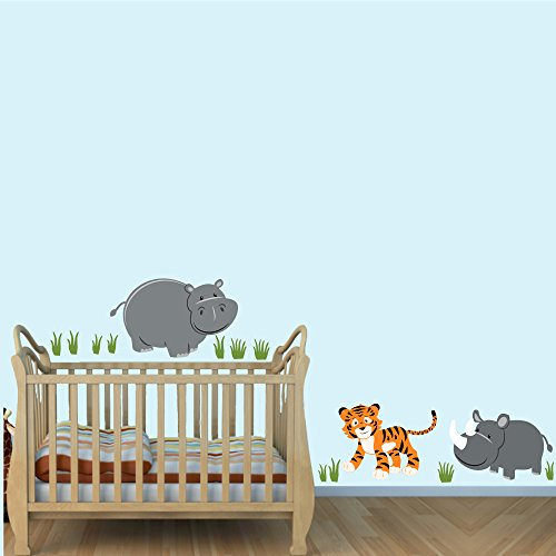 Wall Stickers Animals Jungle (Hippo Wall Decal, Jungle Animal Decal, Animal Wall Stickers, Evergreen)