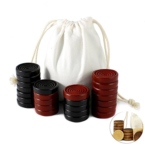 (Attatoy Black & Red Carved Stackable Wooden Checkers (24 pieces); with Drawstring Cloth Storage Bag)