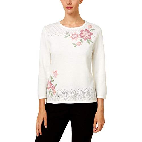 Alfred Dunner Petites' Floral Asymmetrical Sweater Petite Large ()
