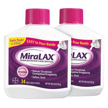 MiraLAX Gentle #1 Doctor Recommended Powder Laxative - Twin Pack (68 Doses) - 40.8 oz. by FCV