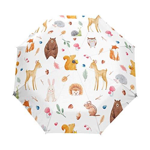 b5f04b591508 My Daily Cute Animals Squirrel Fox Owl Hedgehog Travel Umbrella Auto  Open/Close Lightweight Compact Windproof