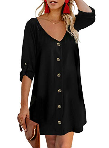 AlvaQ Women V Neck Tunic Short Dress Summer 3/4 Roll Sleeve Loose Button Down A Line Swing Mini Dresses Fashion 2019 Black Large