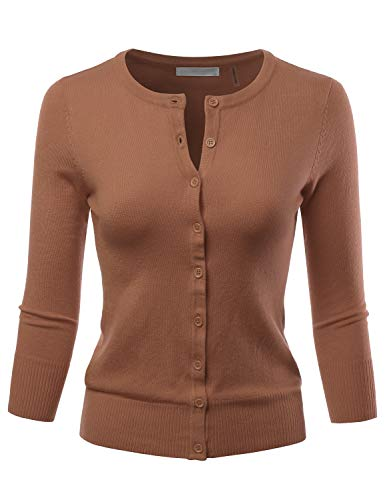 LALABEE Women's 3/4 Sleeve Crewneck Button Down Knit Sweater Cardigan Camel - Cardigan Camel