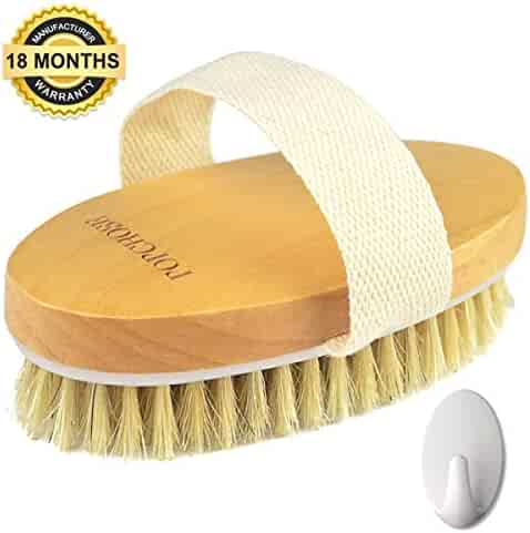 Dry Brushing Body Brush, POPCHOSE Natural Bristle Dry Skin Exfoliating Brush Body Scrub for Flawless Skin, Cellulite Treatment, Lymphatic Drainage and Blood Circulation Improvement, Medium Strength