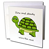 """Slow and steady wins the race! Green Turtle Greeting Card is a great way to say """"thank you"""" or to acknowledge any occasion. These blank cards are made of heavy-duty card stock that allows for smudge free writing. Cards are creased for easy folding an..."""