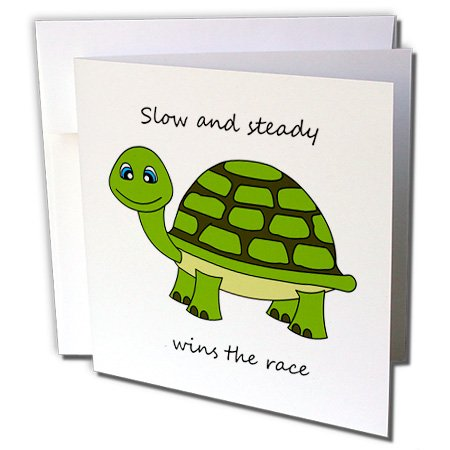 3dRose Slow and steady wins the race! Green Turtle - Greeting Cards, 6 x 6 inches, set of 12 (Turtles Race)