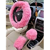 Yontree Universal Truck 3 Pcs Steering Wheel Covers Set Winter Warm Faux Wool Gears Handbrake Cover