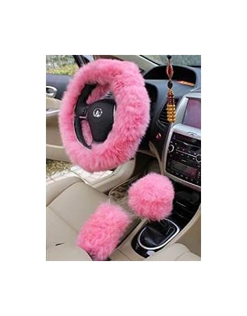 c585f776614 Yontree Winter Warm Faux Wool Handbrake Cover Gear Shift Cover Steering  Wheel Cover 14.96