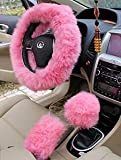"Automotive : Yontree Winter Warm Faux Wool Handbrake Cover Gear Shift Cover Steering Wheel Cover 14.96""x 14.96"" 1 Set 3 Pcs (Pink)"
