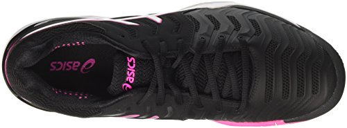 Asics Women's Gel-Resolution 7 Tennis Shoes, White, 6 Black (Black/Silver/Hot Pink 9093)