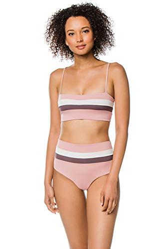 (LSpace Women's Rebel Stripe Bandeau Bikini Top Primrose/Pebble/Cream M)