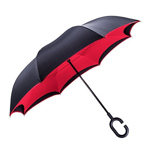 Inverted Umbrella by Tooge, Cars Reverse Umbrella for Wind and Rain Protection-Double Layer and Self-Standing, with C-Shaped Handle and Umbrella Cap (Purple)