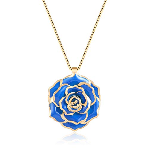 (FM FM42 Royal Blue Gold-Tone 30mm Made of Real Rose Flower Pendant Necklace FN4207)
