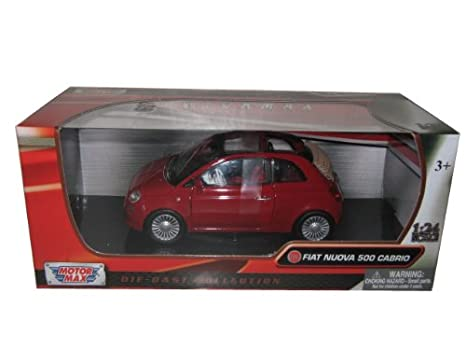 Amazon Com Fiat 500 Nuova Cabrio Red 1 24 By Motormax 73374 Toys