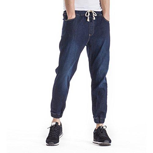 Alpha Denim Pant - Indigo alpha Men's Joggers Jeans Elastic Waist Pants Stretch Drop Crotch Relaxed Fit Jean(Swing L) Dark Blue