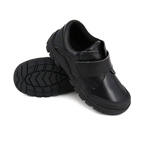 (Happystep Genuine Leather Toddler Little Boy School Uniform Black Formal Dress Shoes Monk Strap - Size 12)