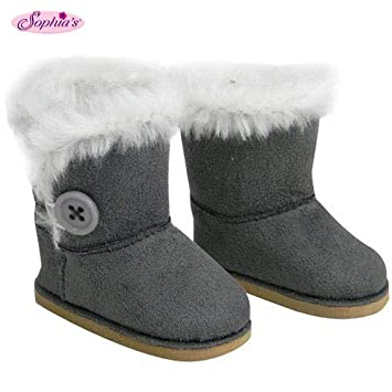 e4e128a365b Sophia's Stylish 18 Inch Doll Boots Fits 18 Inch American Girl Dolls & More  Doll Shoes of Gray Suede Style Boots W/ Button & White Fur by My Doll's ...