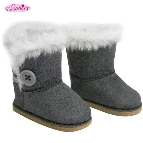 Stylish 18 Inch Doll Boots Fits 18 Inch American Girl Dolls & More! Sophia's Doll Shoes of Gray Suede Style Boots W/ Button & White Fur by My Doll's Life (My Life Doll Gray Boots)