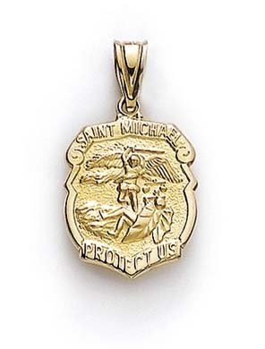 Taille 14 Carats Pendentif Médaille Saint Michael JewelryWeb