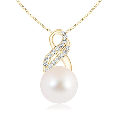 June Birthstone - FreshWater Cultured Pearl Drop Pendant Necklace for Women with Diamond Infinity Swirl in 14K Yellow Gold (Pearl Size - 10mm)