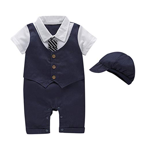 (Hunzed Baby Outfits Infant Baby Short Sleeve Tie Fake Two-Piece Gentleman Romper Solid Print Jumpsuit + Hat (18-24 Months, Khaki))