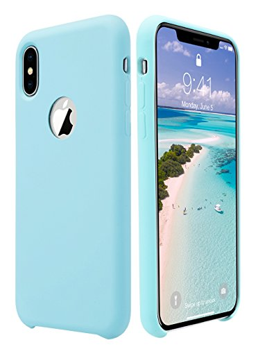 iPhone X Case, ULAK Slim Fit Liquid Silicone & Rubber Protective Shock Absorption Phone Case Cover with Soft Microfiber Cloth Lining Cushion for Apple iPhone X 5.8 inch, Mint (Soft Liquid)