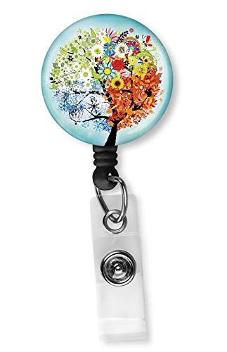 Abstract Colorful Tree of Life Badge Reel, Retractable Name Card Badge Holder with Alligator Clip, 24in Nylon Cord, Medical MD RN Nurse Badge ID, Badge Holder, ID Holder, Office Employee Name Badge