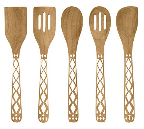 Country Kitchen 5 Piece Nonstick Utensil Set Acacia Wooden Kitchen Tools for Serving and Healthy Cooking with White Inlay Design