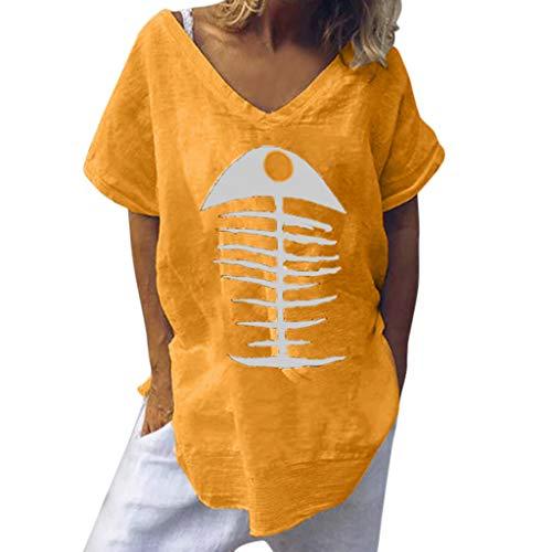 Short Sleeve Linen Shirt Women Casual Blouse Fish Bone Print Loose Funny Tops ()