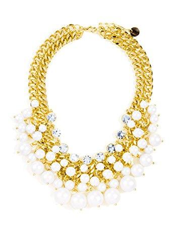 Happiness Boutique Femmes Collier Plastron avec Perles en Or   Collier XXL avec Perles Blanches et Strass Claire sans nickel