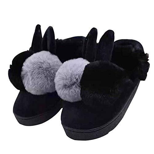 Da Scarpe Autunno Pantofole Forma Metà Black Morbide Di In A Coniglio E Spesso Calde Pacco Inverno Motivo Donna Cotone Casa Graziose Fondo Con zzFxqErZ