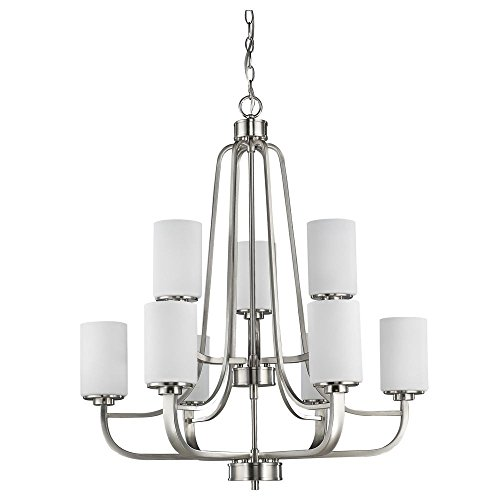 (Acclaim Lighting IN11241SN Addison Indoor 9-Light Chandelier with Glass Shades, Satin Nickel)