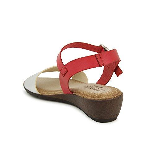 Sandalia Minicuña En Piel Rojo Rojo