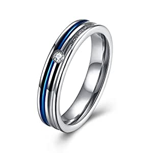 """Women Blue Couple Wedding Band Engagement Ring """"Forever Love"""" For Her Wife Girlfriend Bridal Set Stainless Steel"""