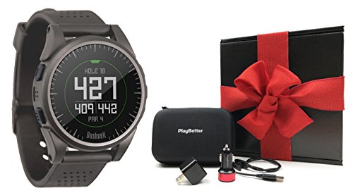 Bushnell Excel (Charcoal) GIFT BOX Bundle | Includes PlayBetter USB Car/Wall Charging Adapters, Protective Hard Case, Gift Box, Red Bow | Golf GPS Watch w/ Activity Tracking
