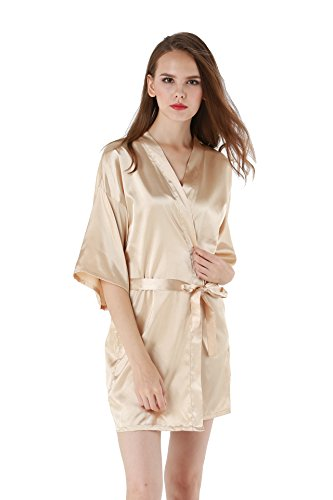 Women's Satin Plain Short Kimono Robe Bathrobe, XX-Large, Beige]()