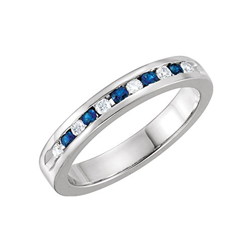 Bonyak Jewelry Blue Sapphire & 1/8 CTW Diamond Classic Channel Set Anniversary Band in Platinum - Size - Set Dia Channel