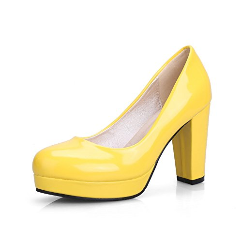 BalaMasa Womens Chunky Heels Platform Low Cut Uppers Yellow Patent Leather Pumps Shoes APL09656-9.5 B(M) US