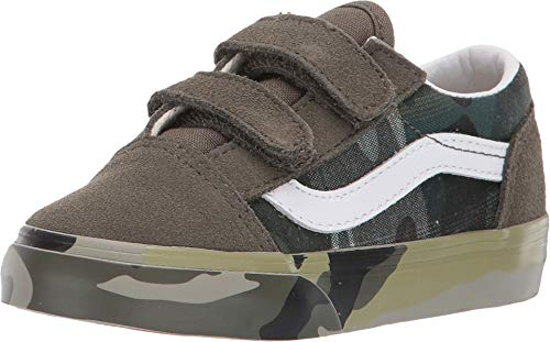 Vans Kids Baby Boy's Old Skool V (Toddler) (Plaid Camo) Grape Leaf/True White 9 M US Toddler ()