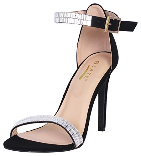 Glaze Women\'s Stiletto Jewel Plated High Heel Ankle Strap Dress Sandals - Open Toe Strappy Heels, Black Nubuck, Size 7' (High Stilettos Heels Sandals 7')