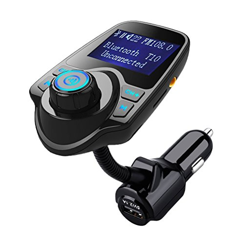 Bluetooth FM Transmitter,Hamaxa Wireless In-Car Radio Adapter Audio Receiver Music Modulator Car Kit MP3 Player w/ USB Car Charger AUX Hands Free Call 1.44'' Display TF Card Slot for Smartphone,Tablet by HAMAXA