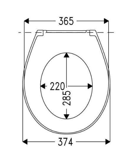 Sanifri WC-Sitz Dilos genaue Größe, Lochabstand und andere wichtige Maße