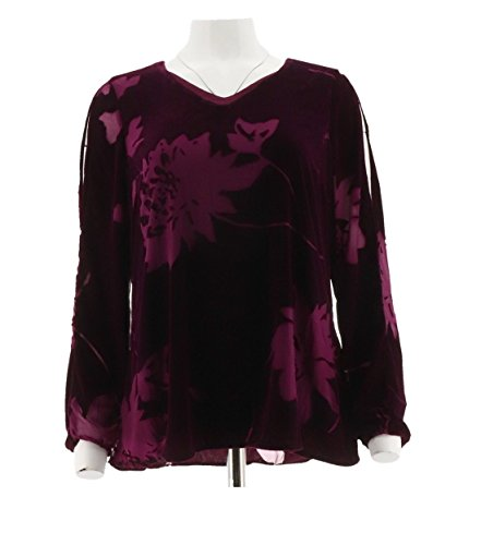 Velvet Burnout V-neck Top - Halston Cold Shoulder Velvet Floral Burnout Top A298863, Mulberry, 0
