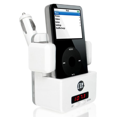 CTA Digital i-Cruise FM Transmitter Dock for iPod/MP3 Players (White)