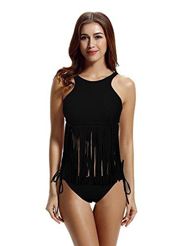 ZERACA-Womens-High-Neck-Fringe-Tankini-Swimsuits